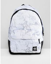 adidas Originals - Marble Print Backpack In White Dh2570 - Lyst