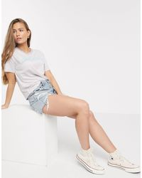 American Eagle Distressed Boyfriend Denim Short - Blauw