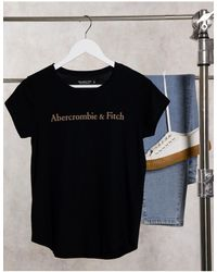 Abercrombie & Fitch Front Logo Crew Neck Tee - Blue