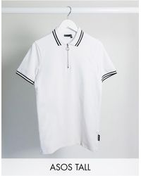 ASOS Tall Skinny Tipped Polo Shirt With Zip And Woven Tab - White