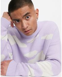 ASOS Oversized Knitted Sweater With Cloud Design - Purple