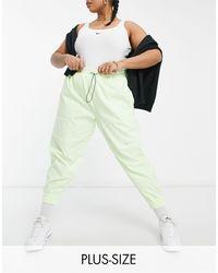 Nike Неоново-желтые Тканые Штаны С Логотипом-галочкой Plus-желтый