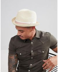 ASOS DESIGN - Straw Hat With Pinched Crown And Pink Band - Lyst
