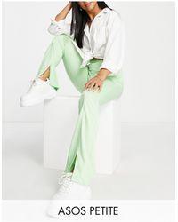 ASOS ASOS DESIGN Petite - Pantalon skinny stretch taille haute avec ourlet fendu sur l'avant - pistache - Vert