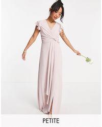 TFNC London Серовато-бежевое Платье Макси Подружки Невесты С Рукавами Клеш И Оборками -розовый Цвет
