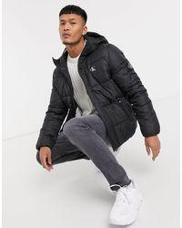Calvin Klein Черная Дутая Куртка С Капюшоном И Небольшим Логотипом Calvin Klein-черный
