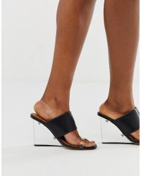 Truffle Collection Clear Mule Wedge Heeled Sandals