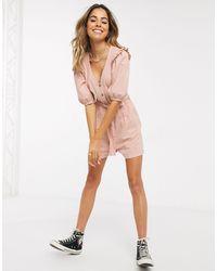 Miss Selfridge Denim Playsuit With Frill Sleeves - Pink