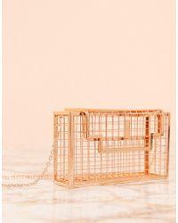 ASOS Luxe Rose Gold Caged Box Cross Body Bag - Metallic