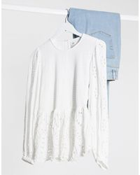 River Island Diamante Peplum Blouse - White