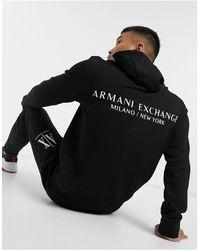 Armani Exchange Черный Махровый Худи С Принтом На Спине