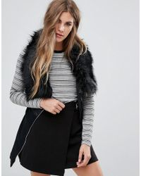Urban Bliss | Indiana Gilet With Faux Fur Collar | Lyst