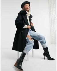 River Island Faux Fur Cuff Coat - Black