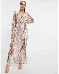 Lipsy Wrap Midi Dress - Multicolor