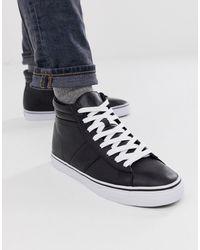 Polo Ralph Lauren Черные Высокие Кожаные Кроссовки Shaw - Белый