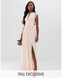 TFNC London - Перламутрово-розовое Платье Макси С Кружевной Отделкой -розовый - Lyst