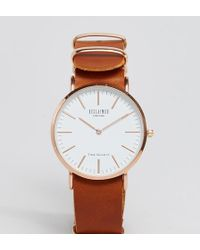 Reclaimed (vintage) - Inspired Leather Watch In Tan 36mm Exclusive To Asos - Lyst