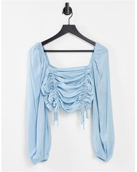 Urban Bliss Ruched Crop Top - Blue