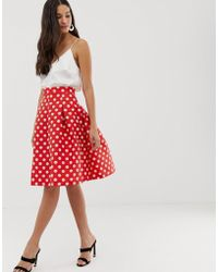 Closet Closet Gold Pleated Full Skirt - Red