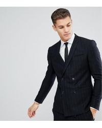 Noak - Slim Double Breasted Suit Jacket In Stripe - Lyst