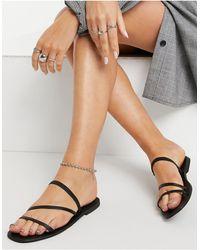 Warehouse Skinny Strap Sandal - Black