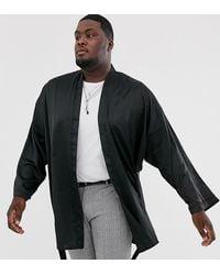 ASOS Plus - Satijnen Kimono Met Ceintuur - Zwart