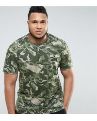 Defend London - Camo T-shirt With Paint Splatter Exclusive To Asos - Lyst