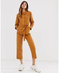 Monki Tie Waist Organic Cotton Denim Boilersuit - Brown