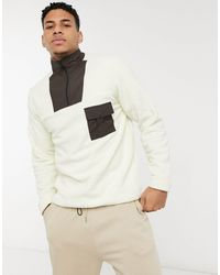 Another Influence Another Infleunce Fleece High Neck Quarter Zip With Mixed Panels - Natural