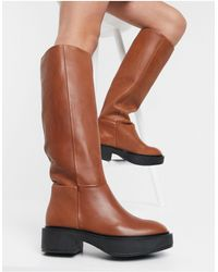 Mango Leather Calf Length Boots - Brown