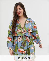 AX Paris Платье Миди С Запахом И Цветочным Принтом -синий - Зеленый