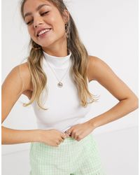 Pieces Ribbed Crop Top With Halterneck - White