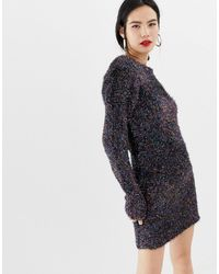 Brave Soul Sweater Dress In Rainbow Tinsel - Black