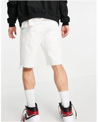 Bershka Distressed Denim Shorts - White