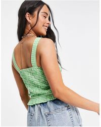 Native Youth Shirred Square Neck Crop Top - Green