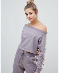 South Beach Джемпер С Открытыми Плечами -серый - Пурпурный