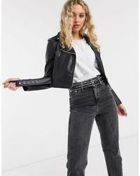 Bershka Cropped Faux Leather Biker Jacket - Black