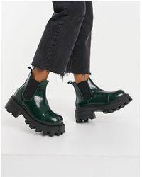 TOPSHOP Chelsea Boots Met Vierkante Neus En Dikke Zool - Groen
