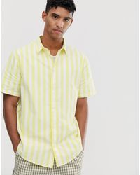Weekday Louie - Camicia gialla a righe verticali - Bianco
