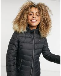 Tommy Hilfiger Faux-fur Hooded Padded Jacket - Black