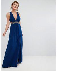 ASOS - Asos Embellished Waist Strap Back Maxi Dress - Lyst
