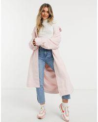 ASOS - Розовая Удлиненная Куртка-рубашка Из Материала С Начесом - Lyst