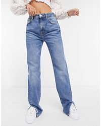 Pull&Bear 90s Straight Leg Jeans With Slits - Blue