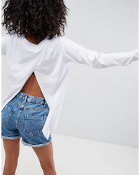 ASOS - Split Back Top With Long Sleeves - Lyst