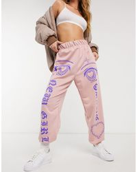 New Girl Order Printed High Waisted sweatpants - Pink