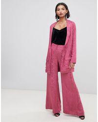 For Love & Lemons For Love & Lemons Lara - Pantalon large à motif cachemire - Rose