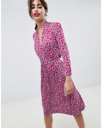 French Connection - Animal Print Tie Waist Dress - Lyst