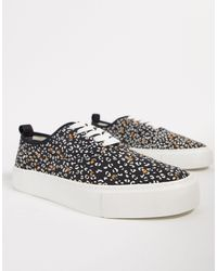 TOPMAN Chunky Trainers With Ditsy Print - Black