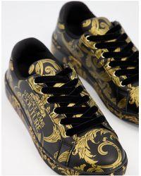 Versace Jeans Couture Золотисто-черные Кроссовки С Графическим Логотипом -черный