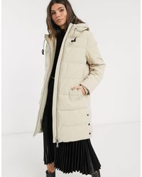 Esprit Padded Midi Coat With Hood - Natural